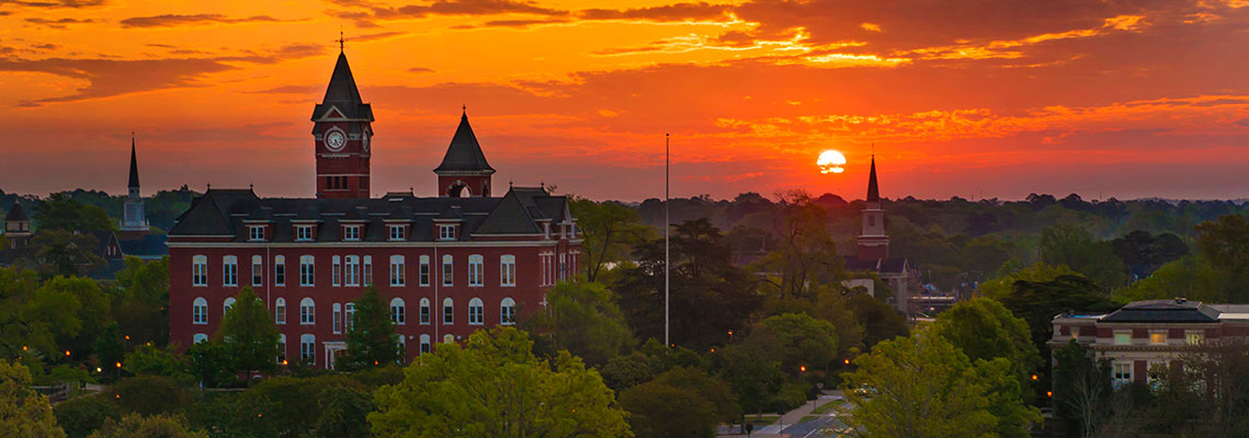 view of campus and Samford Hall at sunset