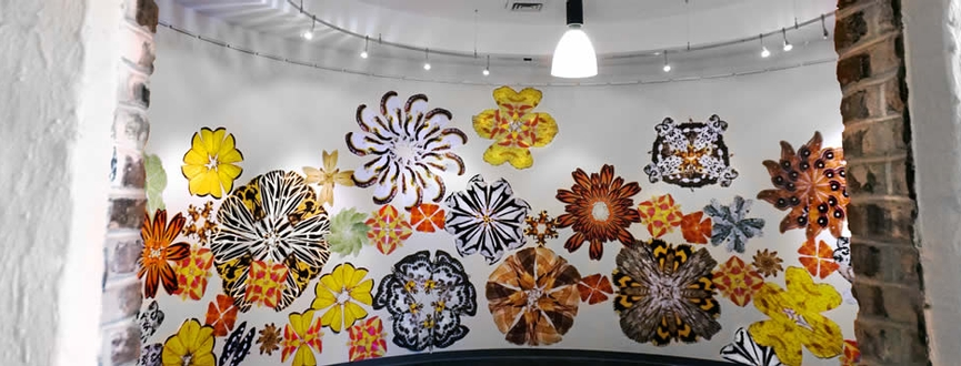 Wheat paste mural of design created from digital prints of moths photographed in the United States. Moth mandalas create total immersive design