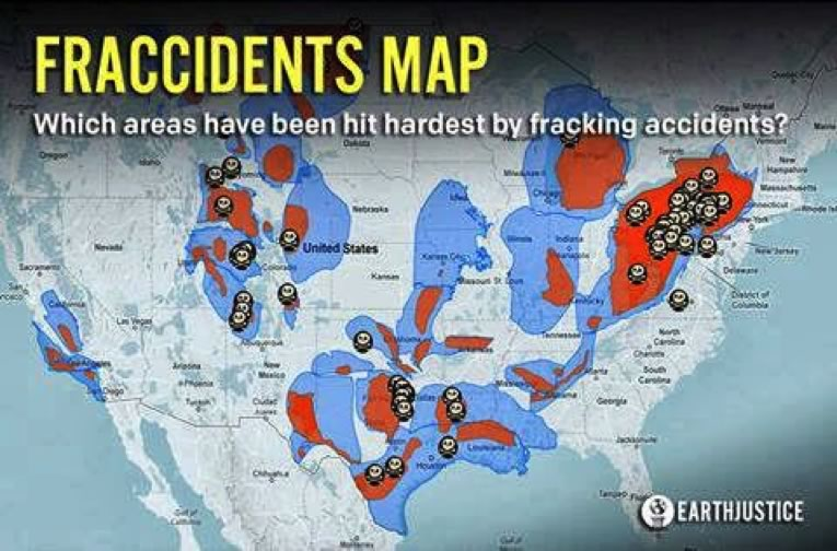 map of fracking accidents in the US