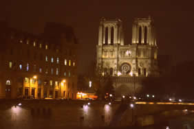 cathedral of notre dame at night