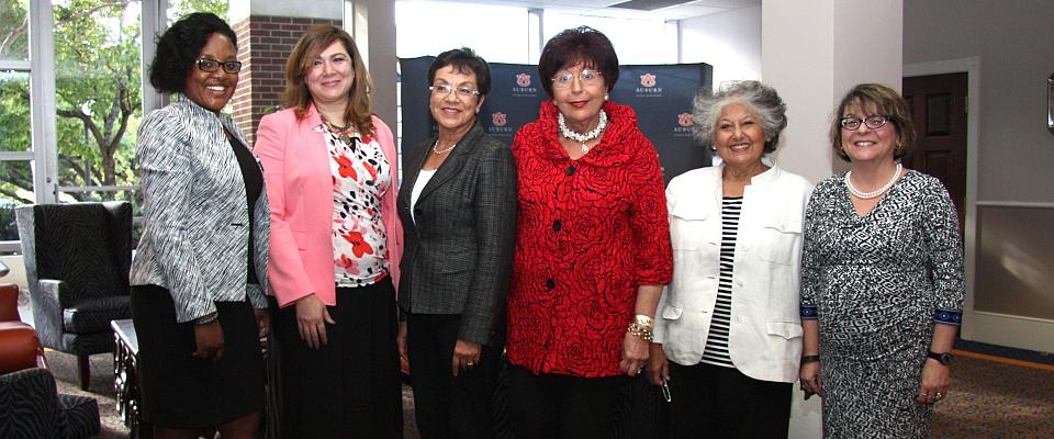 Pictured here are Dr. Samia Spencer (center) along with guests speakers for the Daughters of the Nile book panel event.