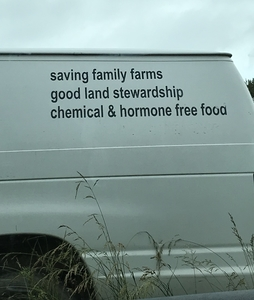 slogan on the van