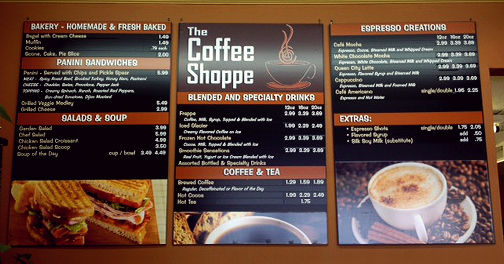 image of coffee house eatery menu