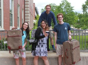 Group shot of students with their luggage