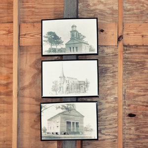 image of three church pictures hanging vertically