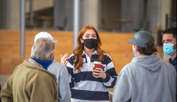 Group on campus wearing face masks