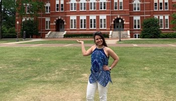 Shabnam Habibi in front of Samford Hall