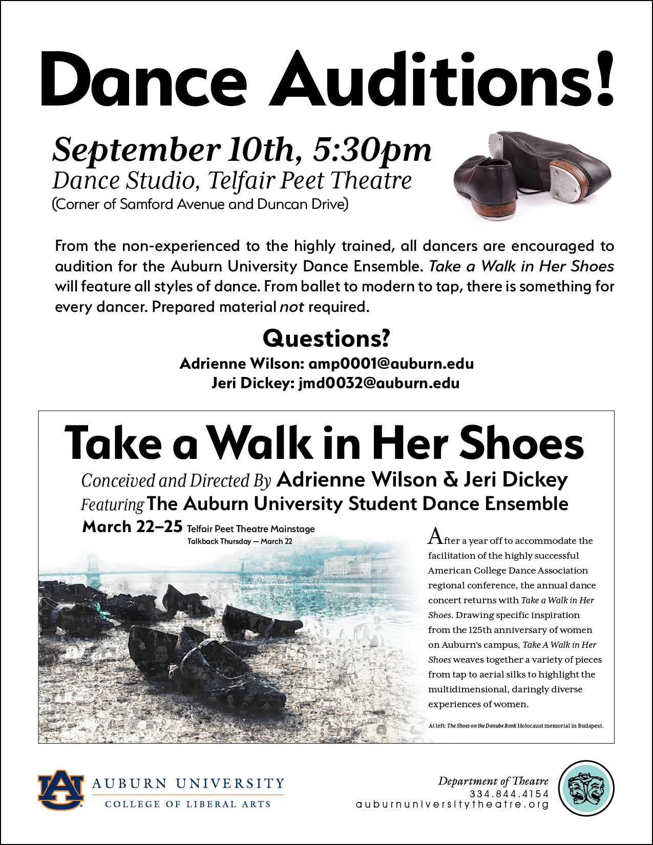 "Audition Flyer for TAKE A WALK IN HER SHOES; features text information from this page and photo of ""The Shoes on the Danube Bank"" Holocaust memorial in Budapest."