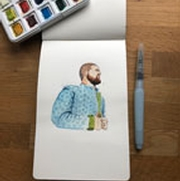 watercolor drawing of a man