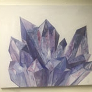 2d painting of purple crystals