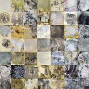 encaustic, graphite, and mixed mediums on multiple papers