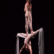 two aerial silk dancers